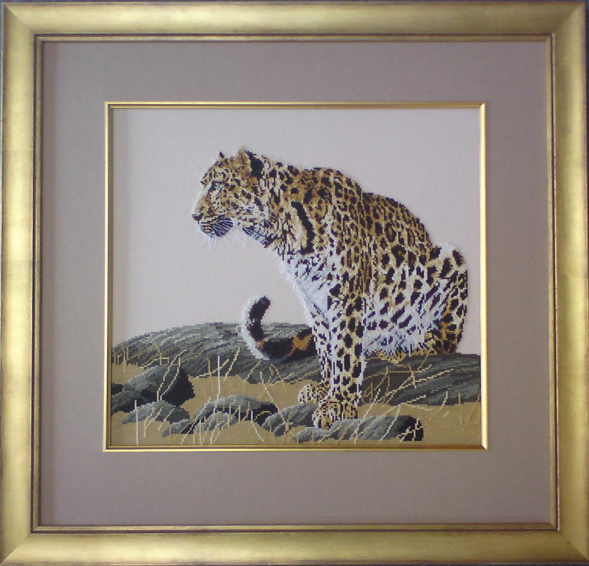 Tiger Tapestry framed with gold fillet